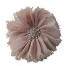8cm Frayed Diamante LATTE Fabric Flower Applique